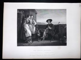 After David Wilkie C1870 Antique Print. The Gentle Shepherd